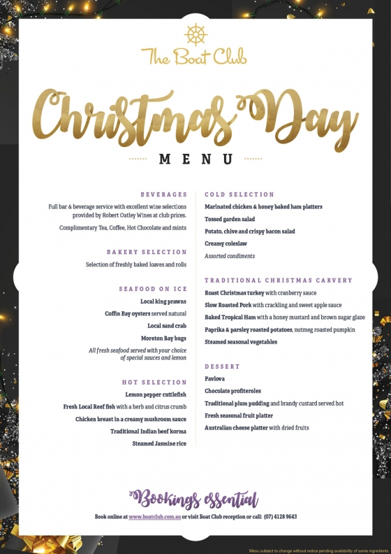 Christmas Day 2019.Christmas Day Lunch 2019 Hervey Bay Boat Club