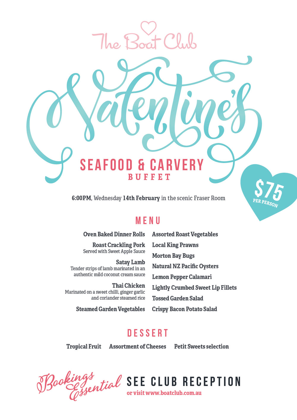 valentines day dinner hervey bay boat club